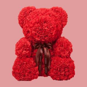 """דובי פרחים אדום 40 ס""""מ גדול+מארז מתנה"""
