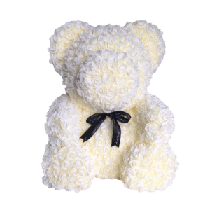 """דובי פרחים שמנת 40 ס""""מ גדול+מארז מתנה"""