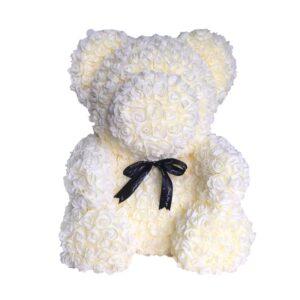 """דובי פרחים לבן 40 ס""""מ+מארז מתנה"""
