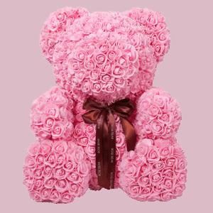 """דובי פרחים ורוד 40 ס""""מ גדול+מארז מתנה"""