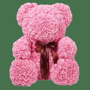 דובי פרחים ורוד ענק + מארז מתנה