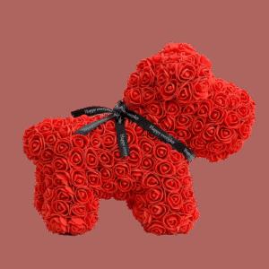 """כלב פרחים אדום 40 ס""""מ גדול+ מארז מתנה"""