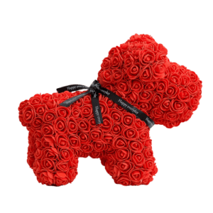 כלב פרחים אדום ענק + מארז מתנה
