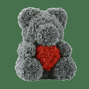 דובי אפור לב אדום ענק + מארז מתנה