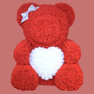 דובי אדום לב לבן גדול+ מארז מתנה