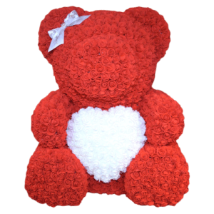 """דובי אדום לב לבן 40 ס""""מ גדול+מארז מתנה"""