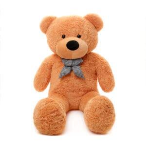 דובי גדול עם פפיון אלגנטי  1 מטר פרוותי חום בהיר