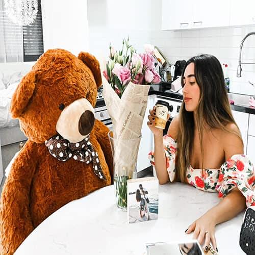 דובי ענק חום ככה יושב בשולחן
