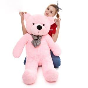 דובי ענק עם פפיון 2 מטר פרוותי  בצבע ורוד