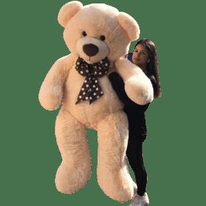 דובי ענק עם פפיון   1.6 מטר פרוותי אפרסק