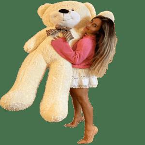 דובי ענק עם פפיון   2 מטר פרוותי שמנת