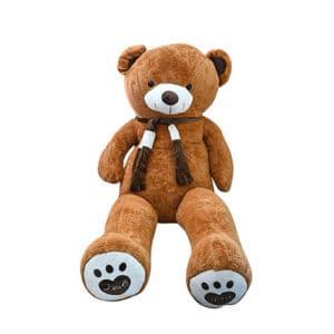 דובי ענק עם צעיף 1.6 מטר – חום + רגליים לבבות