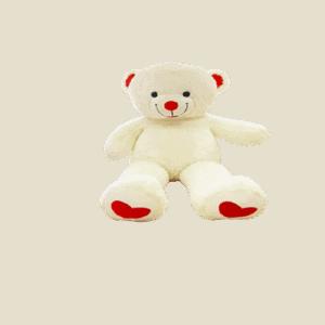 דובי גדול 1.2 מטר בצבע לבן עם רגליים לבבות