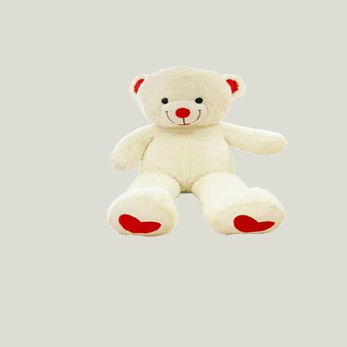 דובי גדול לבן עם רגליים לבבות