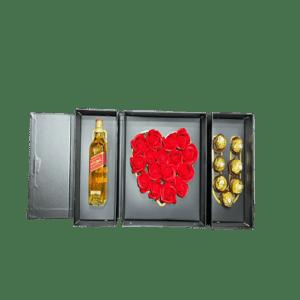 מארז נפתח I LOVE YOU + שוקולד+פרחים+בלו נאן/בלאק לייבל